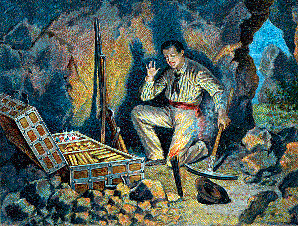 Illustration of Edmond Dantes Discovering the Treasure of the Island of Monte Cristo